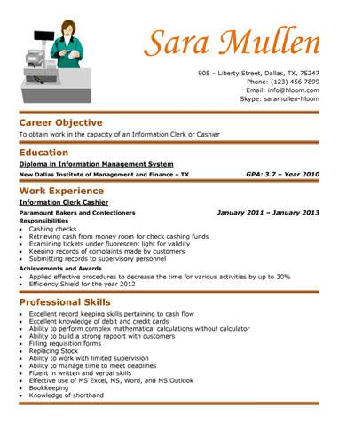 Resume Without Objective Informationclerkcashierresume  Resumes  Pinterest  Template