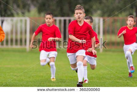 Soccer training for kids in football field