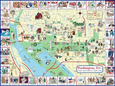 maps of monuments dc   Map of Washington DC   Washington DC Guide ...