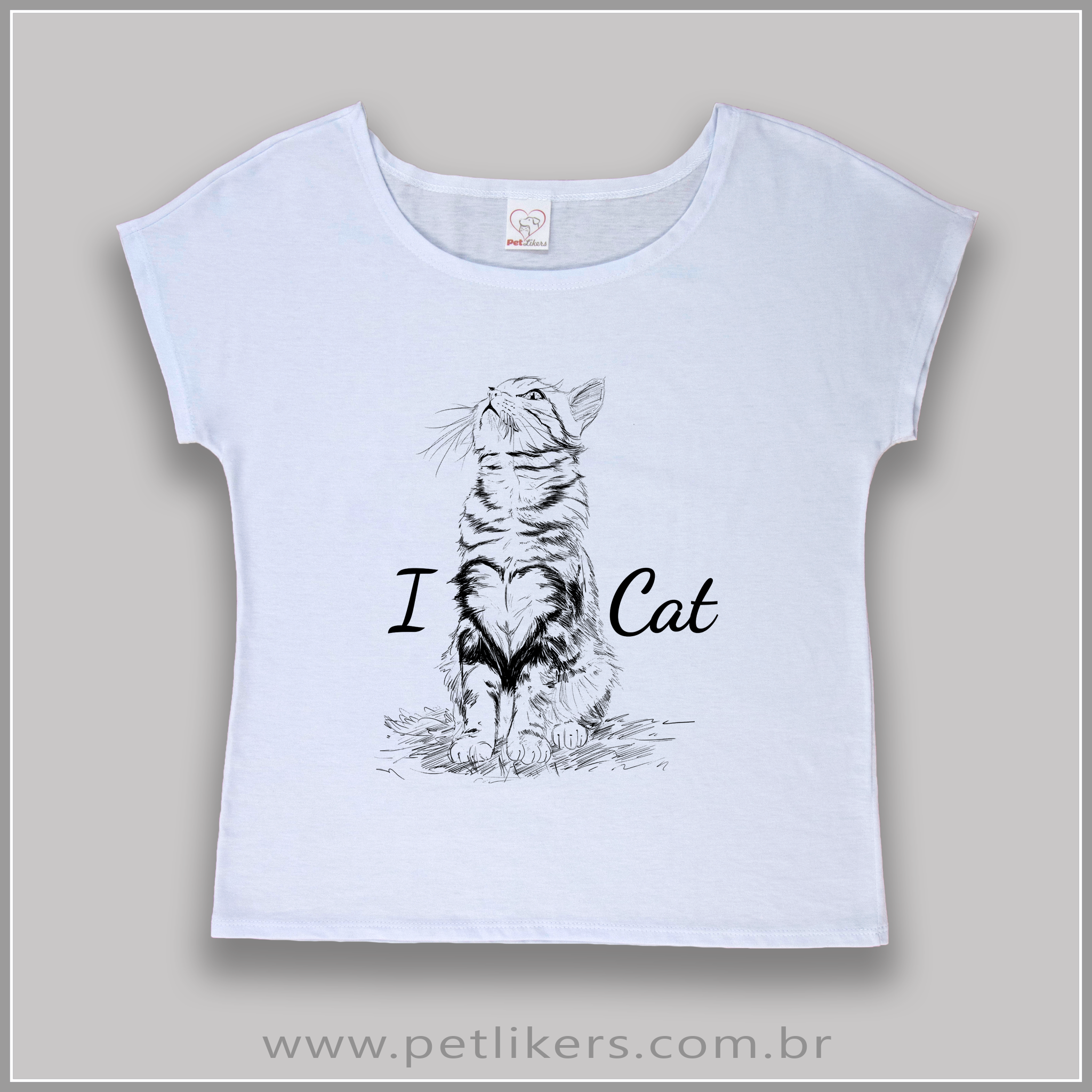 7d68f3e97 T-Shirt   Camiseta Feminina - Estampa Gato