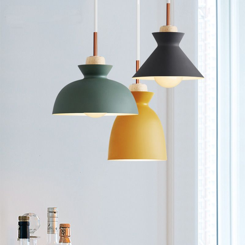 Scandinavian Nordic Led Pendant Lights For Home Lighting Modern Hanging Lamp Wooden Iron L Pendent Lights Bedroom Modern Hanging Lamp Kitchen Pendant Lights Uk