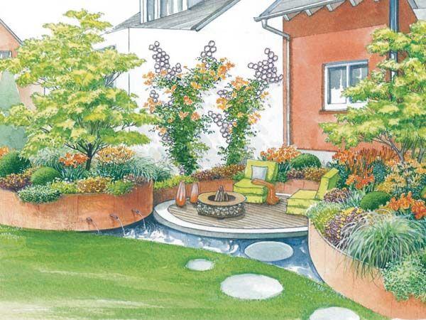 Gestaltung einer Outdoor-Lounge Outdoor lounge, Schöne gärten - sitzplatz im garten mit steinmauer