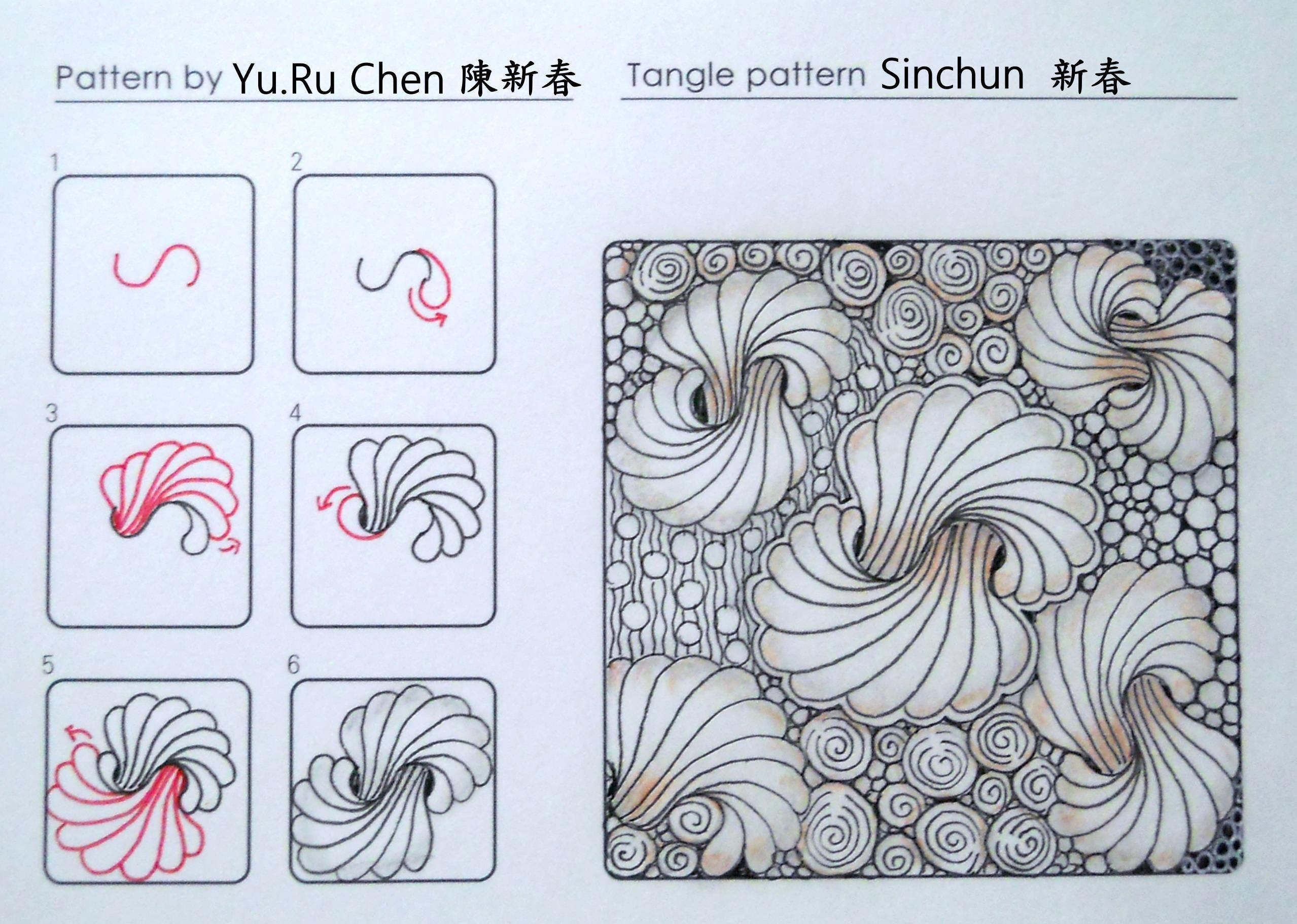 Sinchun pattern zentangle tutorials pinterest for Doodle tutorial