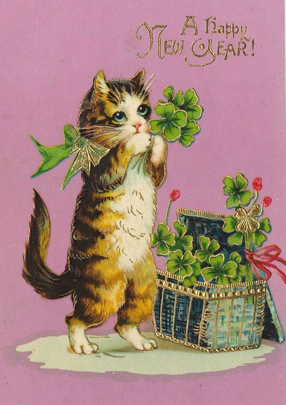 Pin By Liz London On Entre Miaus E Ron Rons Vintage Happy New Year Vintage Cards Cat Christmas Cards