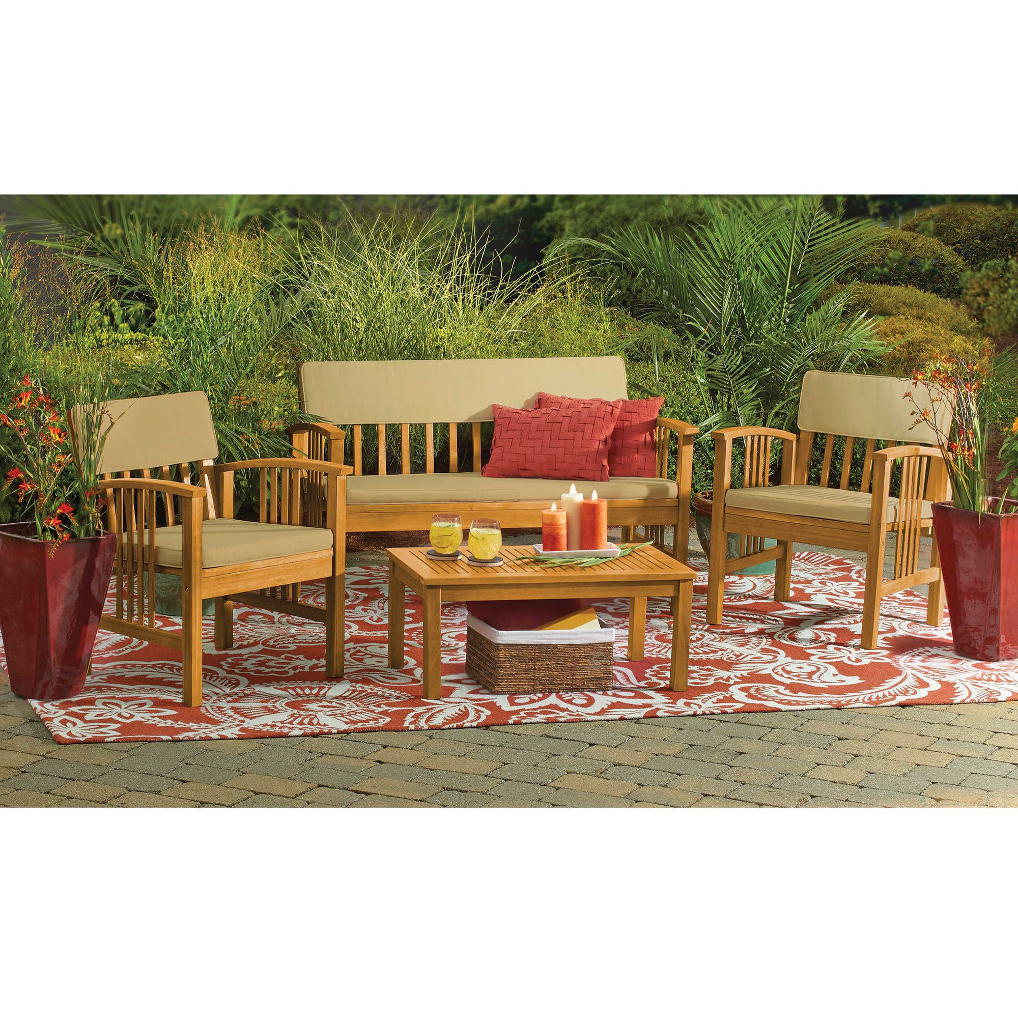 4 Piece Westerly Acacia Wood Deep Seating Chat Set Bed Bath