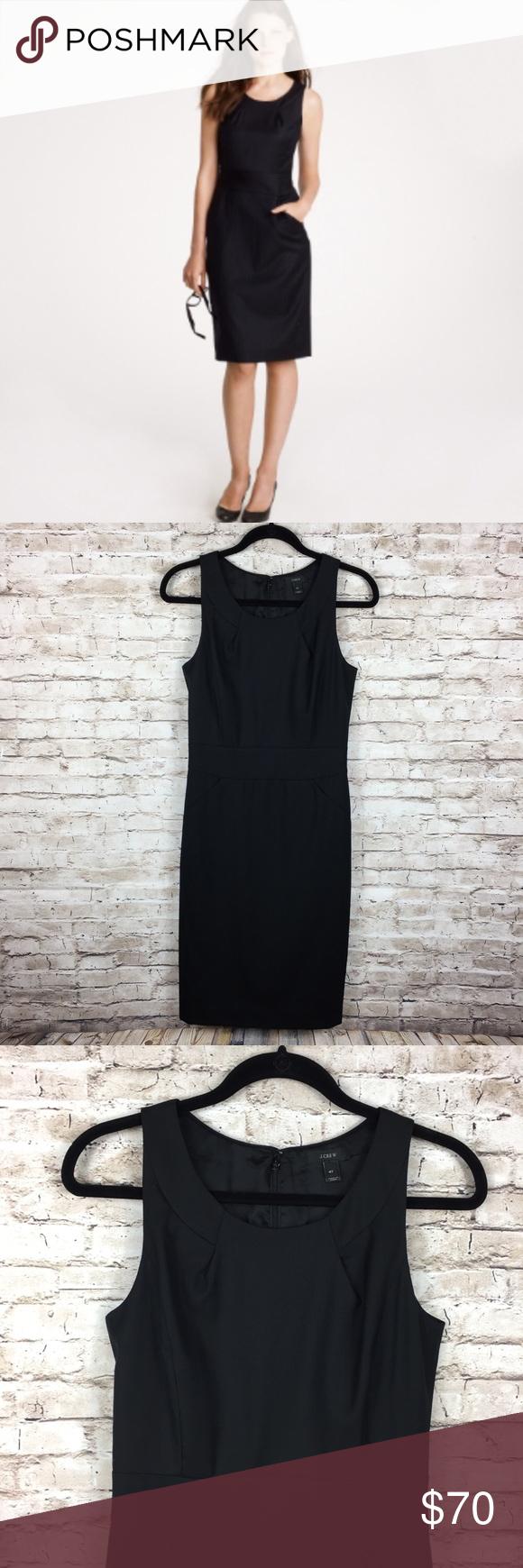 J Crew Emmaleigh Black Sleeveless Wool Dress 4t Wool Dress Clothes Design Dresses [ 1740 x 580 Pixel ]
