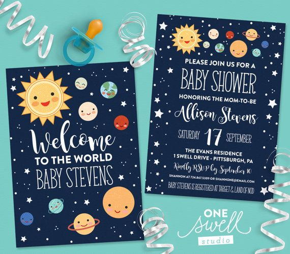 out of this world baby shower for your favorite mom to be shower her in style with one swell studios adorable gender neutral outer space invitation
