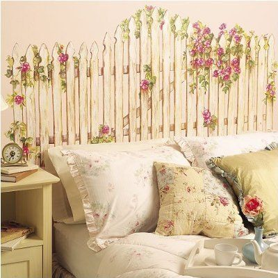 Picket Fence Wall Mural Used As Headboard I Think This