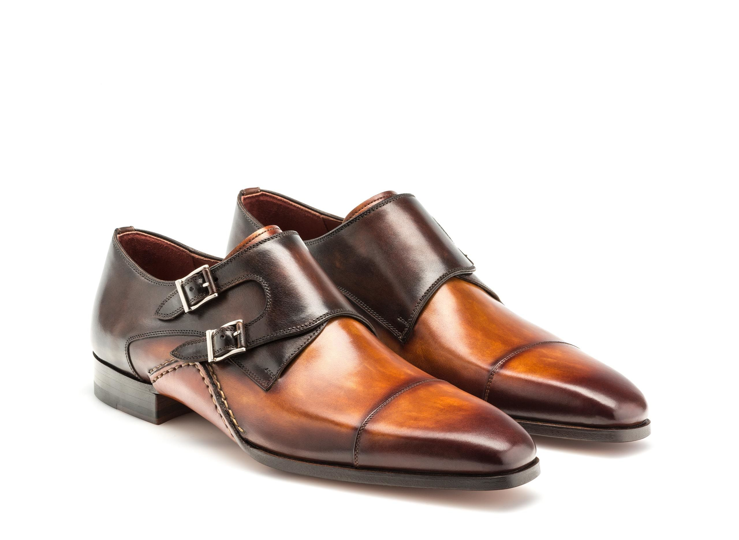 ed93f62dce4 Hand painted dual-tone leather double monk strap shoes for men - Magnanni