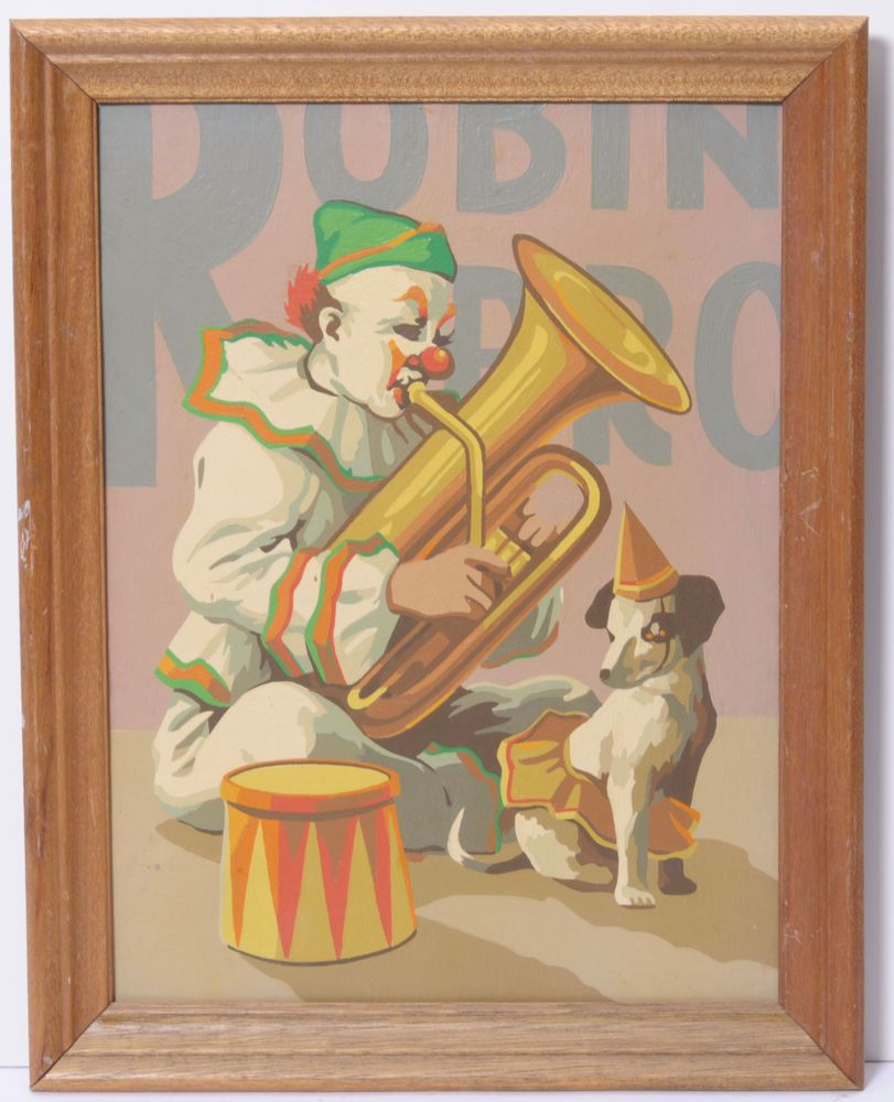 12x16 Circus Clown with Dog framed  vintage paint by number painting PBN #PaintByNumberMidCentury