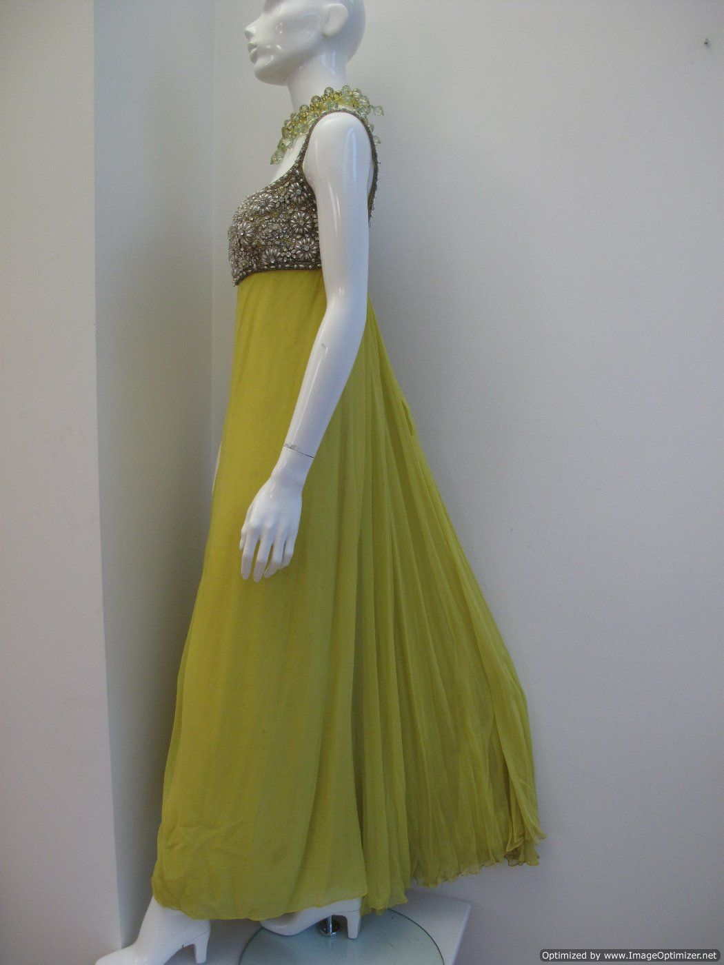 1960 s Acid yellow silk chiffon baby doll vintage evening gown ...