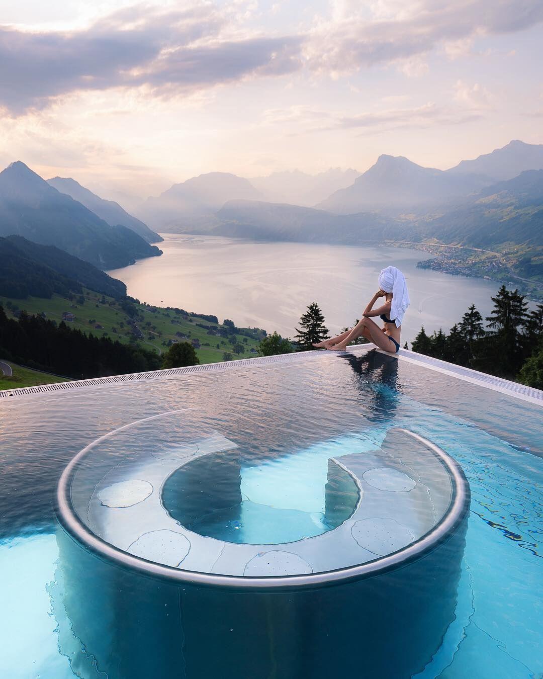 Best Hotel In Switzerland With Infinity Pool Sunrise Pool Views At Villa Honegg Regram Via Jess Wandering Travel Vacation Bucketlist Switzerland Epic Pools Villa Honegg Hotel Villa Honegg