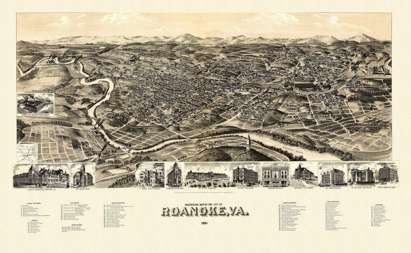 Vintage Map of Roanoke Virginia 1891 City Of Roanoke County Poster