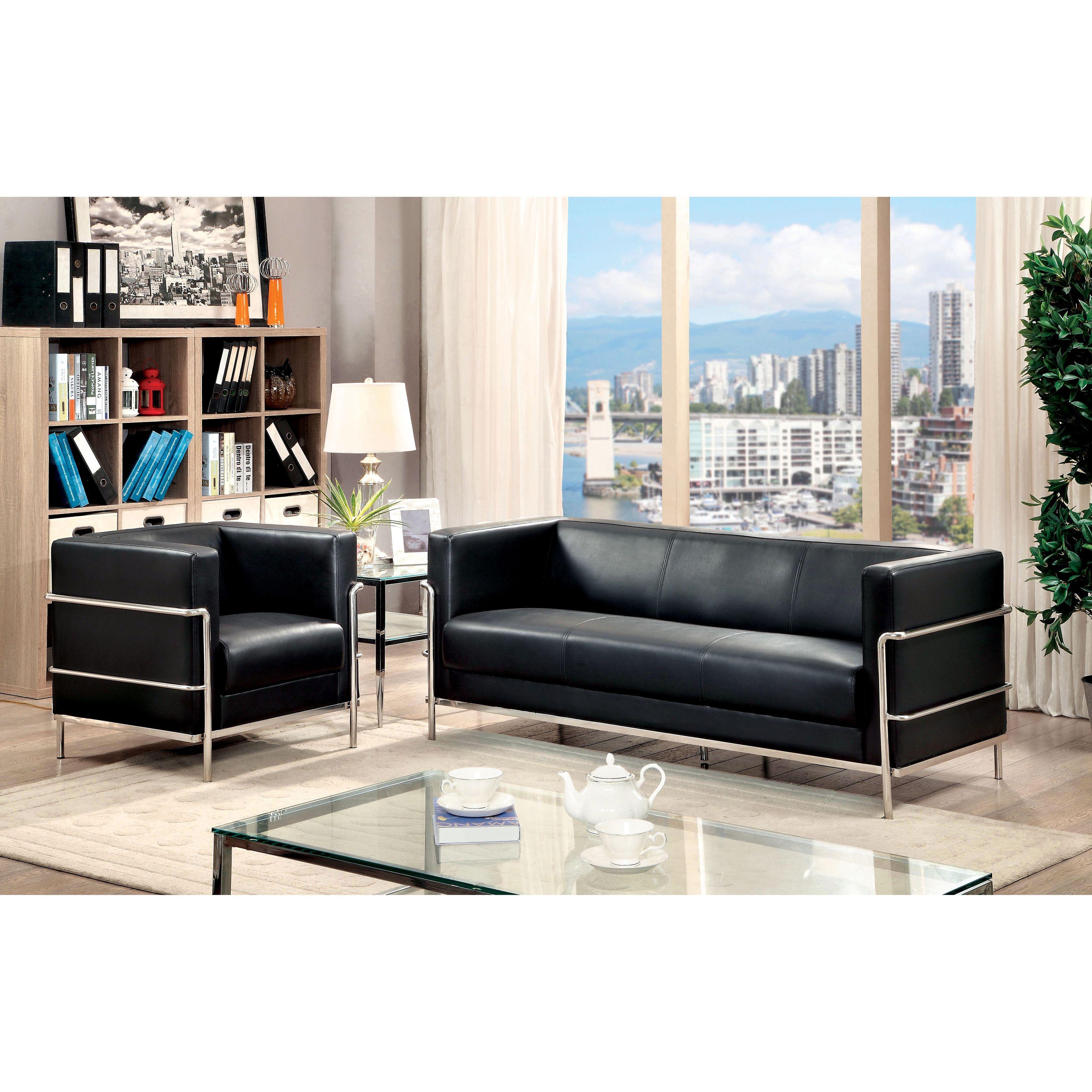 Furniture of America Sonica Contemporary 2-piece Tuxedo Style Leatherette Sofa Set