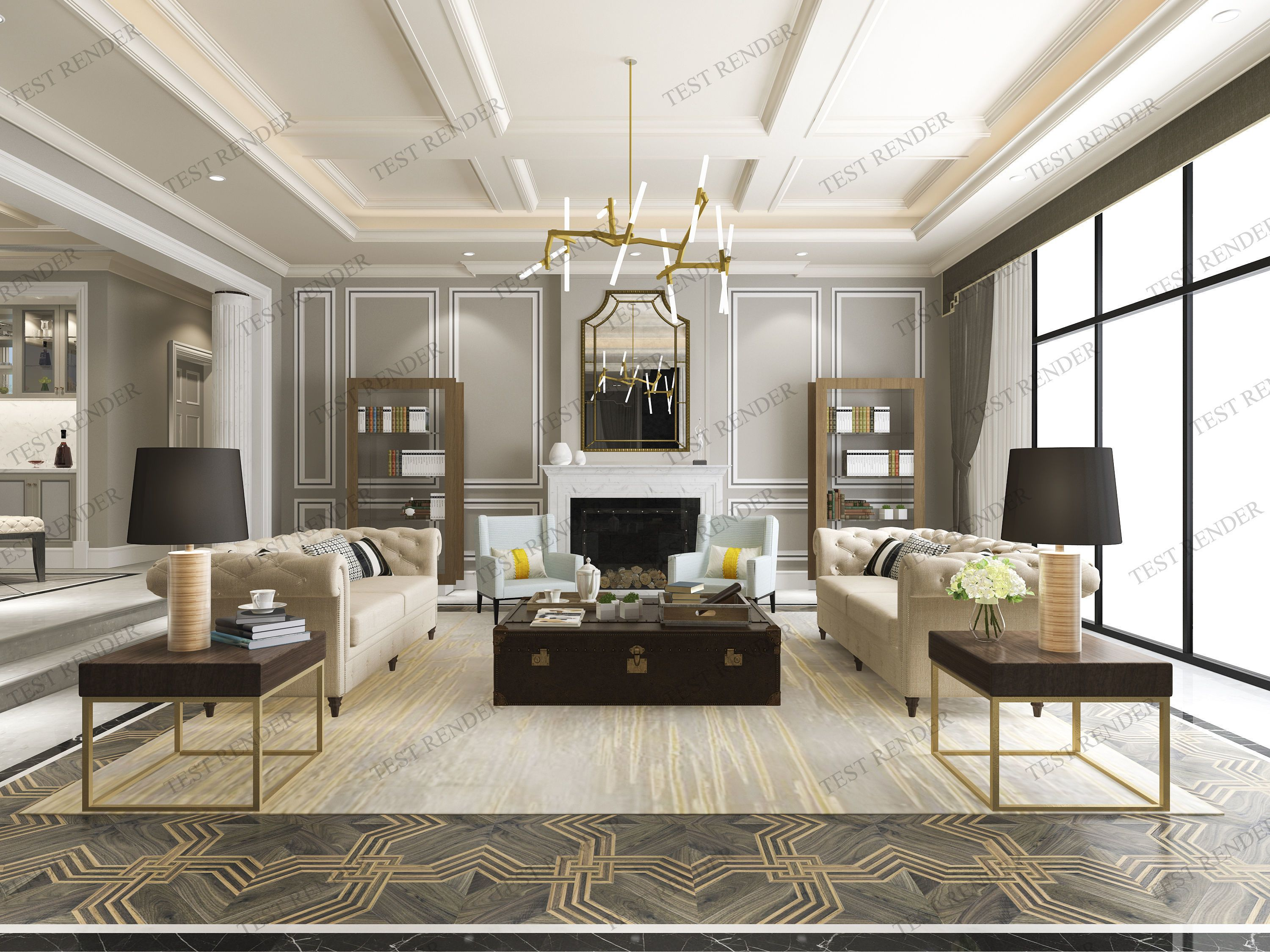 3d Model Modern Classic Contemporary Living Room With In 2020