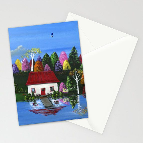 Hilly Hues Red Cottage  Folk Art Greeting Card  Country | Etsy
