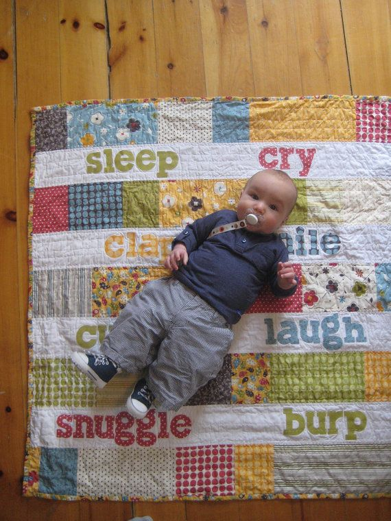 Baby Words Quilt by dreamscometruequilts on Etsy