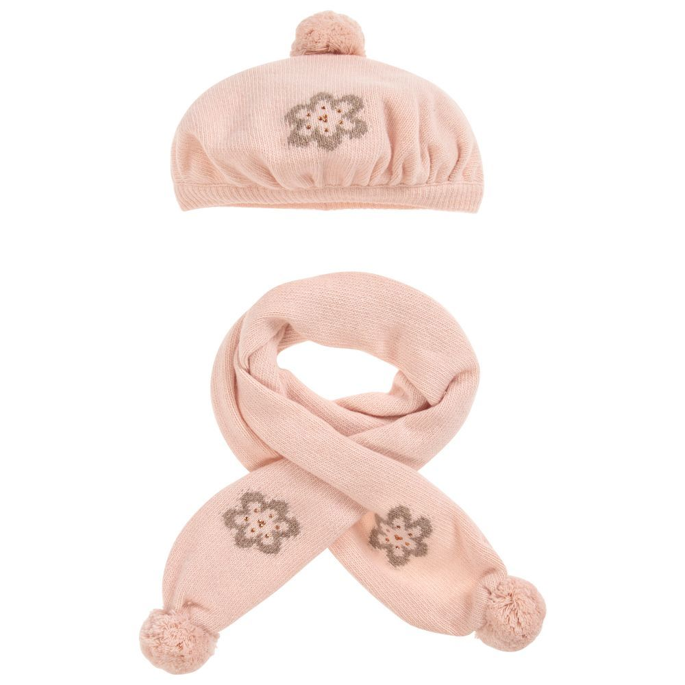 Pink Knitted Hat   Scarf Set for Girl by Dr. Kid. Discover more beautiful designer  Hats for kids online 3e57ba3d99b