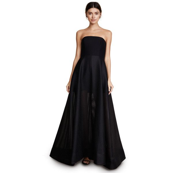 238e402d4740 Halston Heritage Strapless Gown with Sheer Striped Skirt ($750) ❤ liked on  Polyvore featuring dresses, gowns, black, striped dresses, sheer gown,  stripe ...