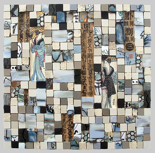 Jude Freeman uses the most exquisite ceramics to make her mixed media mosaics