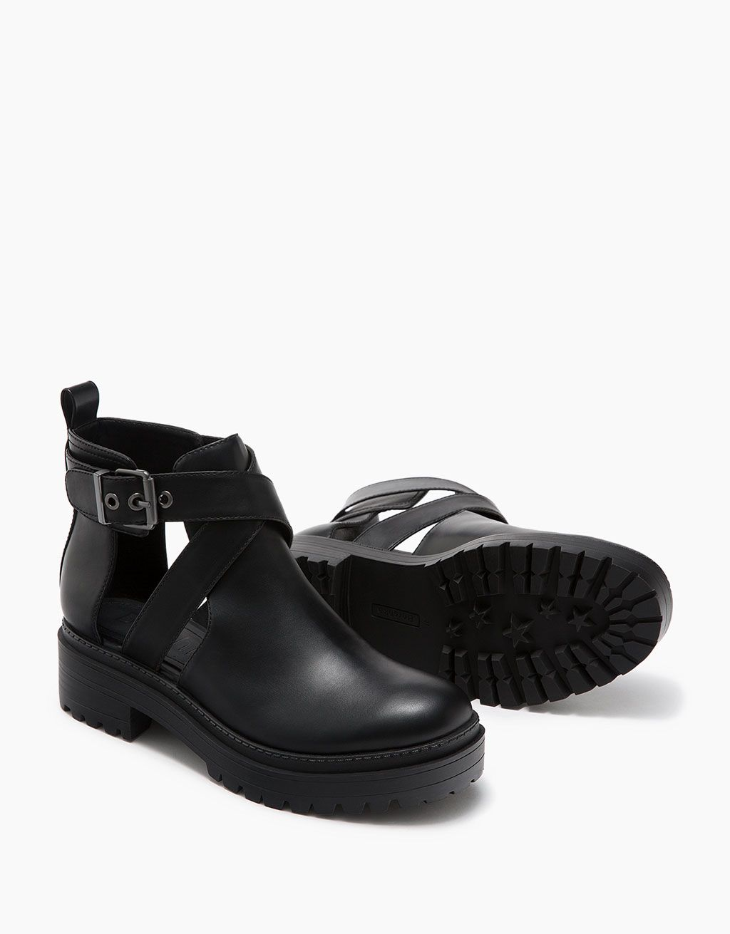 bottines plates fentes et boucle - chaussures - bershka france