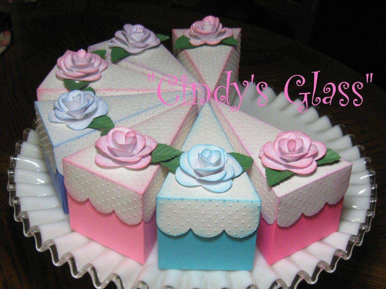 birthday idea Cricut cake, Cake slice boxes, Paper cake