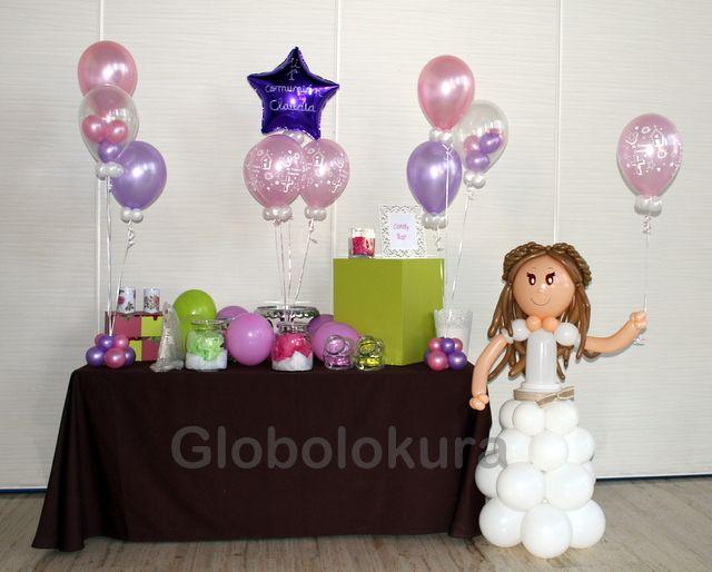 Decoraci n con globos para primera comuni n mesa dulce for Decoracion globos comunion