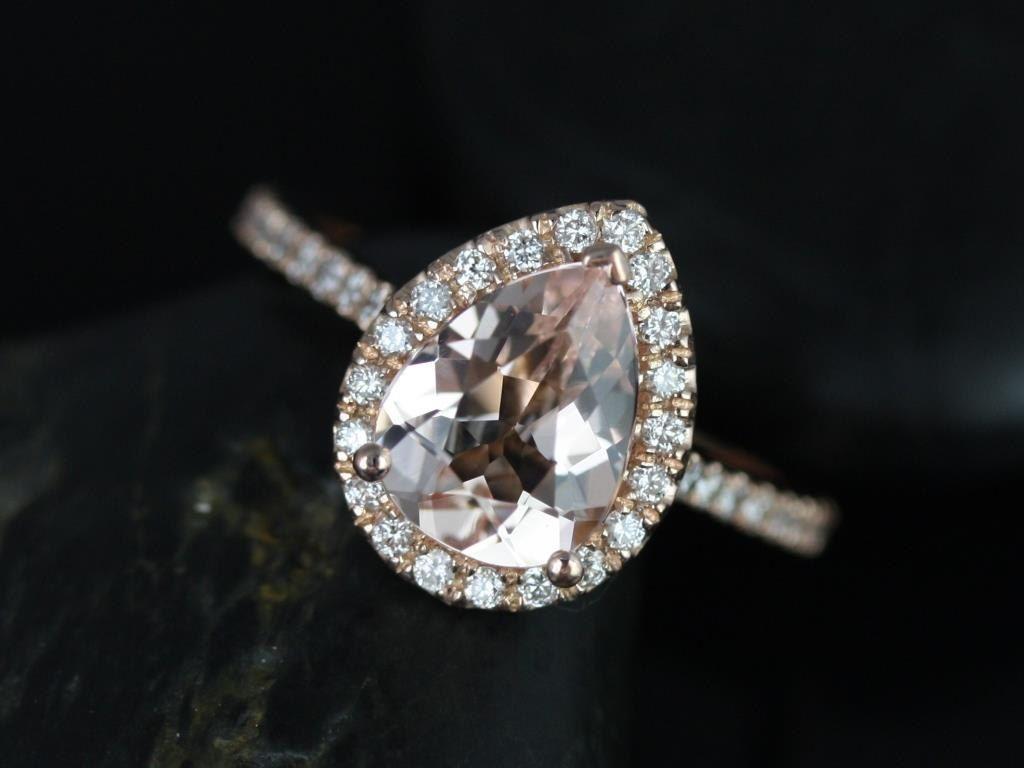 Tabitha xmm kt rose gold pear morganite and diamonds halo