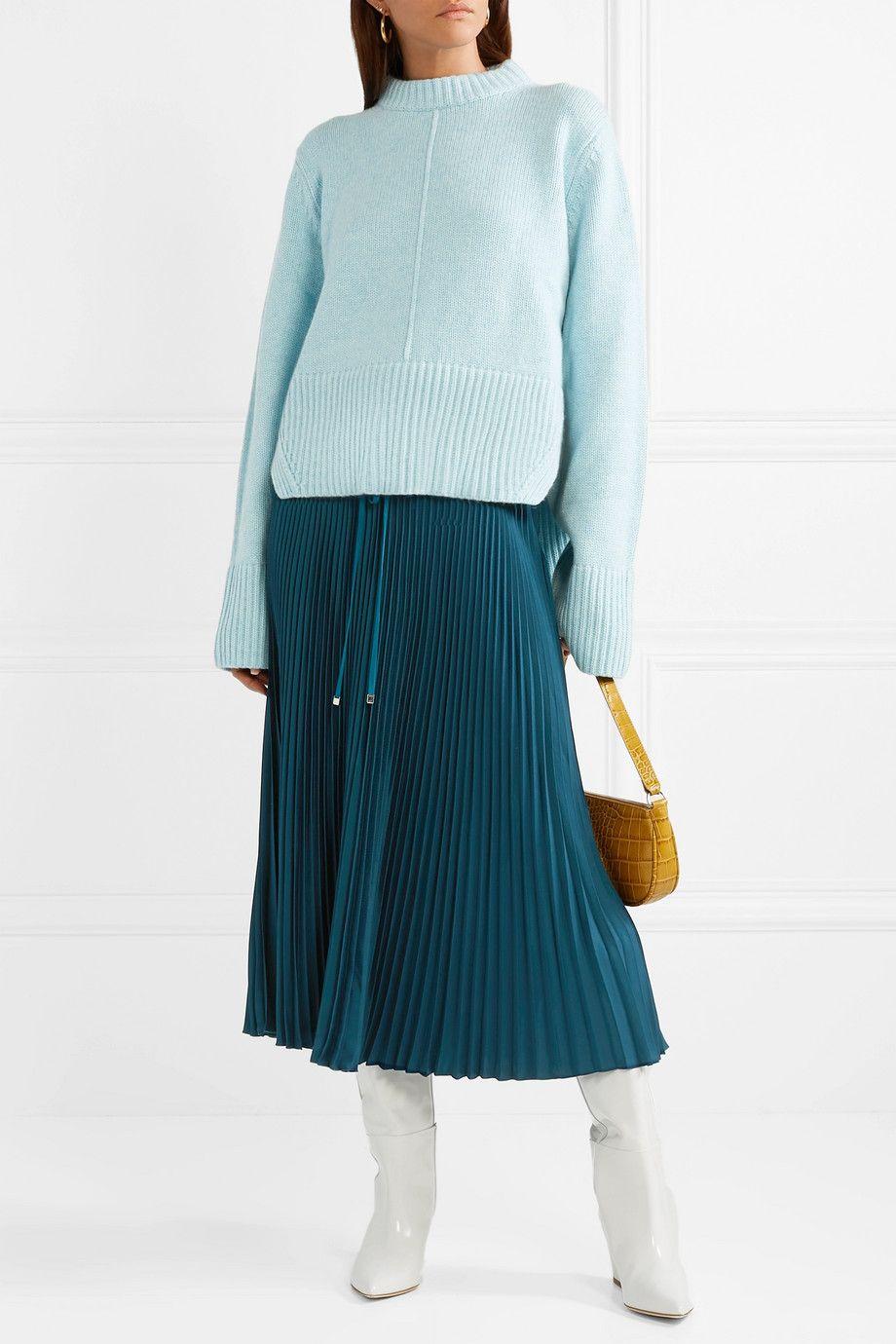 13a7a1fa90 Tibi - Mendini pleated twill midi skirt | Favorites Right Now | Midi ...