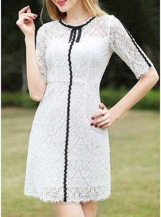 Lace With Lace/Bowknot/Hollow Above Knee Dress