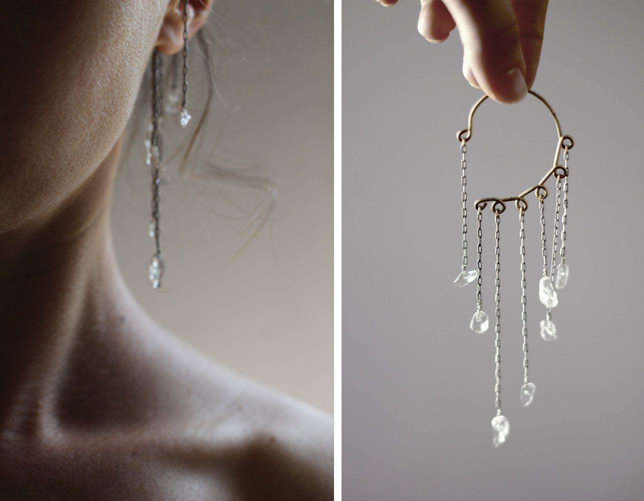 Body piercing earrings  Quartz Crystal Ear Cuff Oxidized Silver Ear Wrap No Piercing Unique