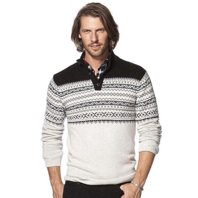 Men's Chaps Classic-Fit Fairisle Mockneck Sweater, Size: Large ...