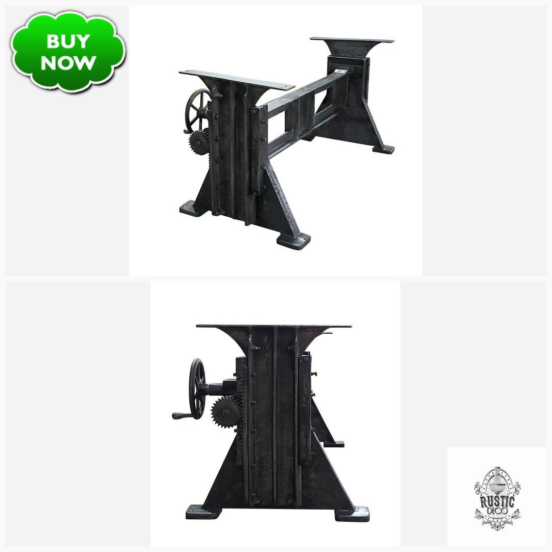 Industrial Dining Table Desk Base Adjustable Height Crank Cast Iron Dieselpunk Steampunk Decopunk Rusticdeco Industri