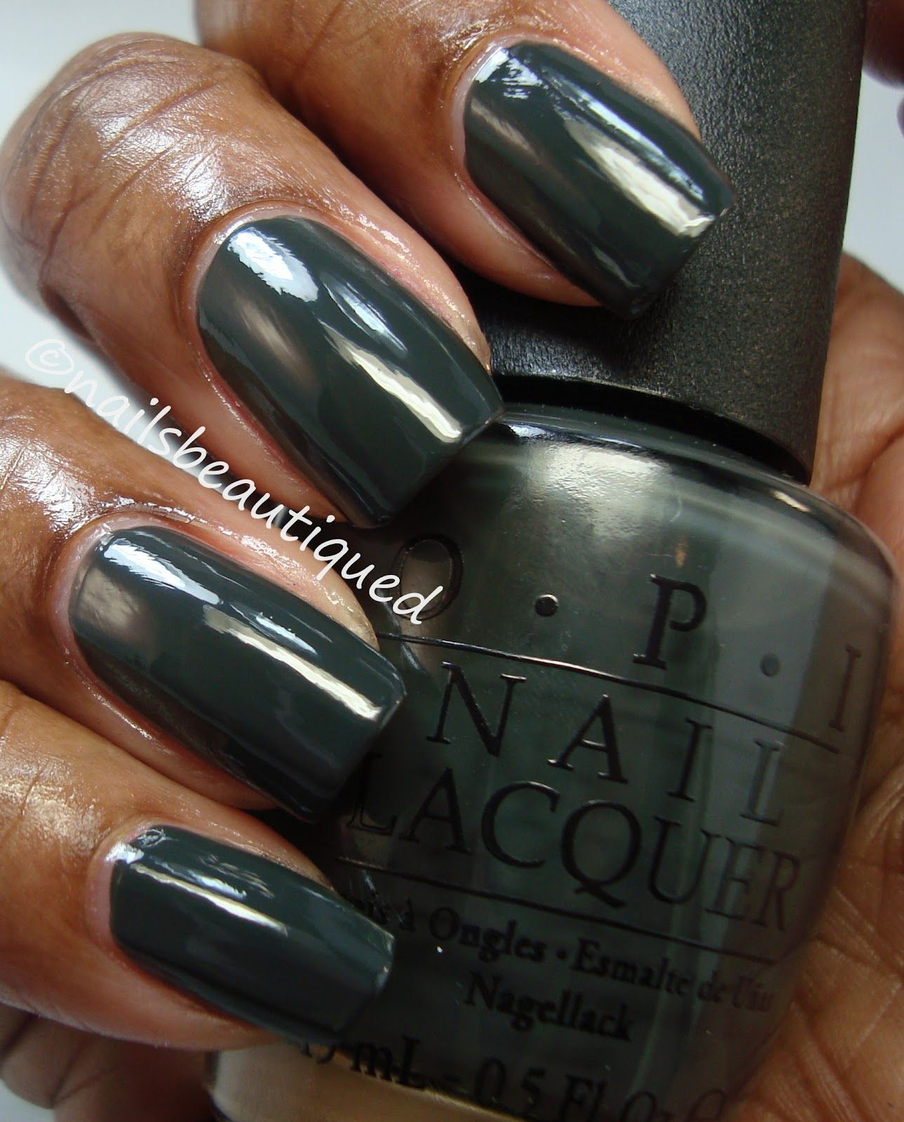 Love this dark green color. OPI color name: Nein! Nein! Nein! Ok ...