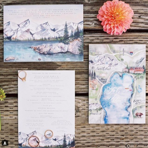 Watercolor Lake Tahoe Wedding Map And