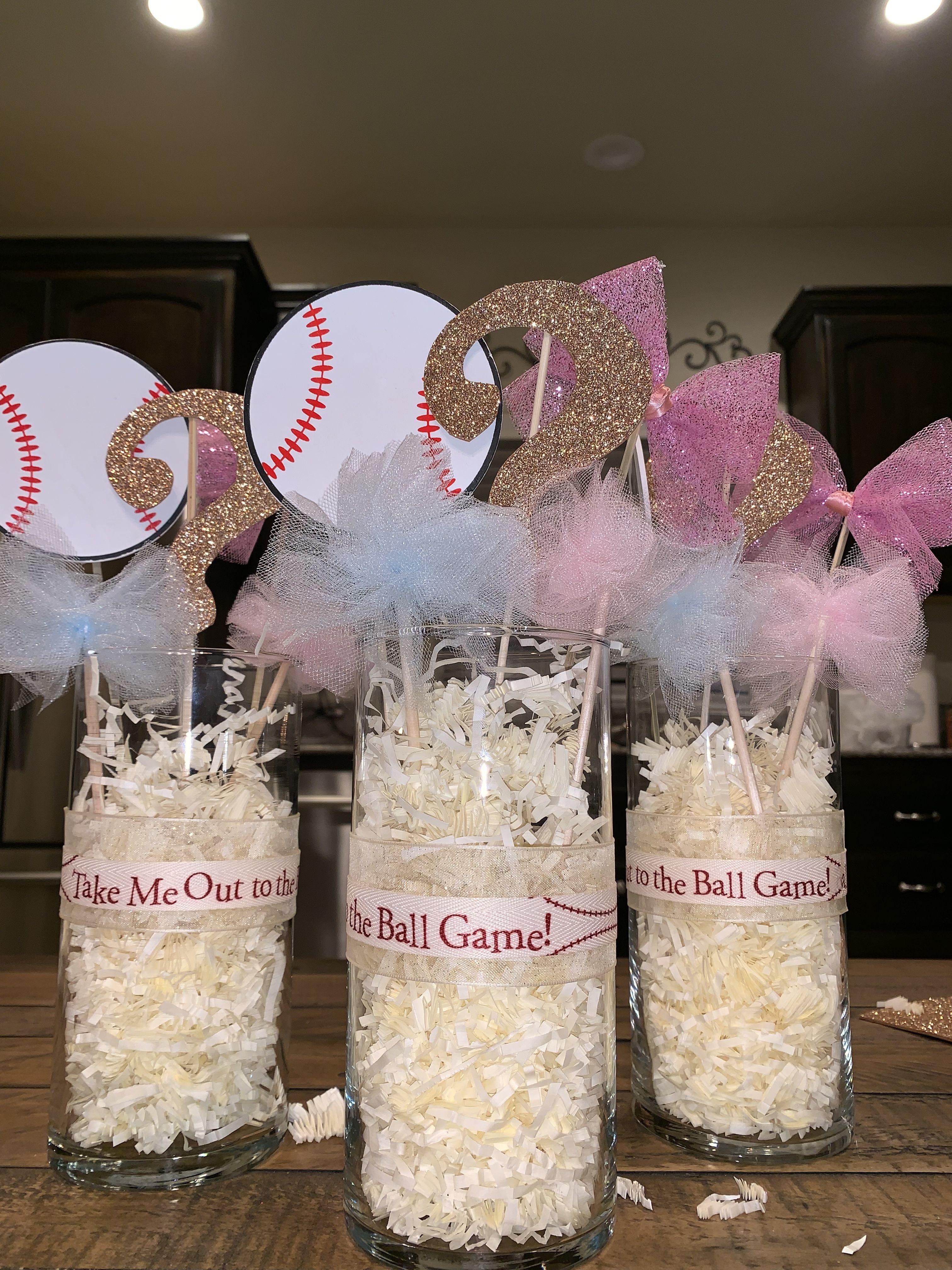 Baseballs Or Bows Center Piece For Gender Reveal Gender Reveal Party Decorations Gender Reveal Themes Baby Gender Reveal Party