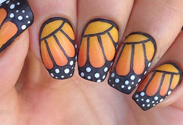 Diy Monarch Butterfly Nail Art Butterfly Nail Butterfly Nail Art Dot Nail Art