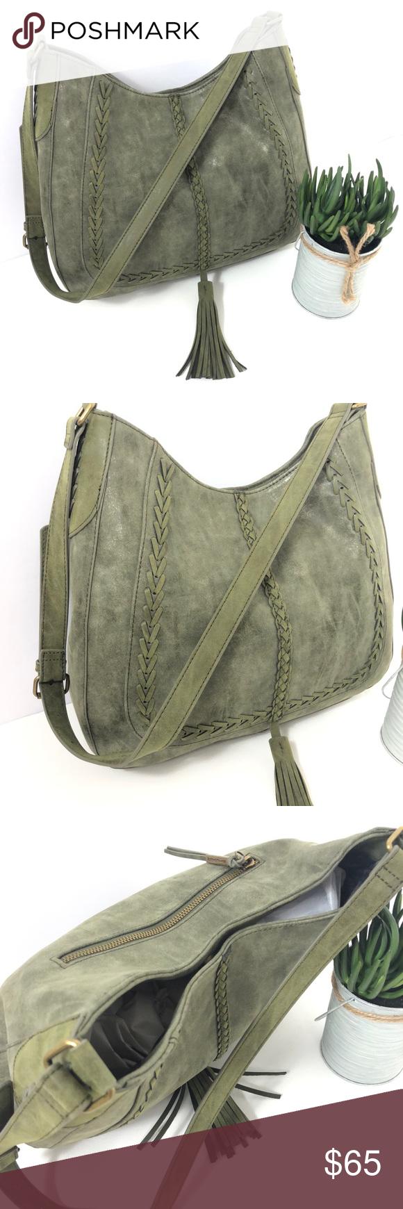 2ee3fb8ec5 Steve Madden Large shoulder bag Olive green Woven stitching details loop  about a faux suede finish