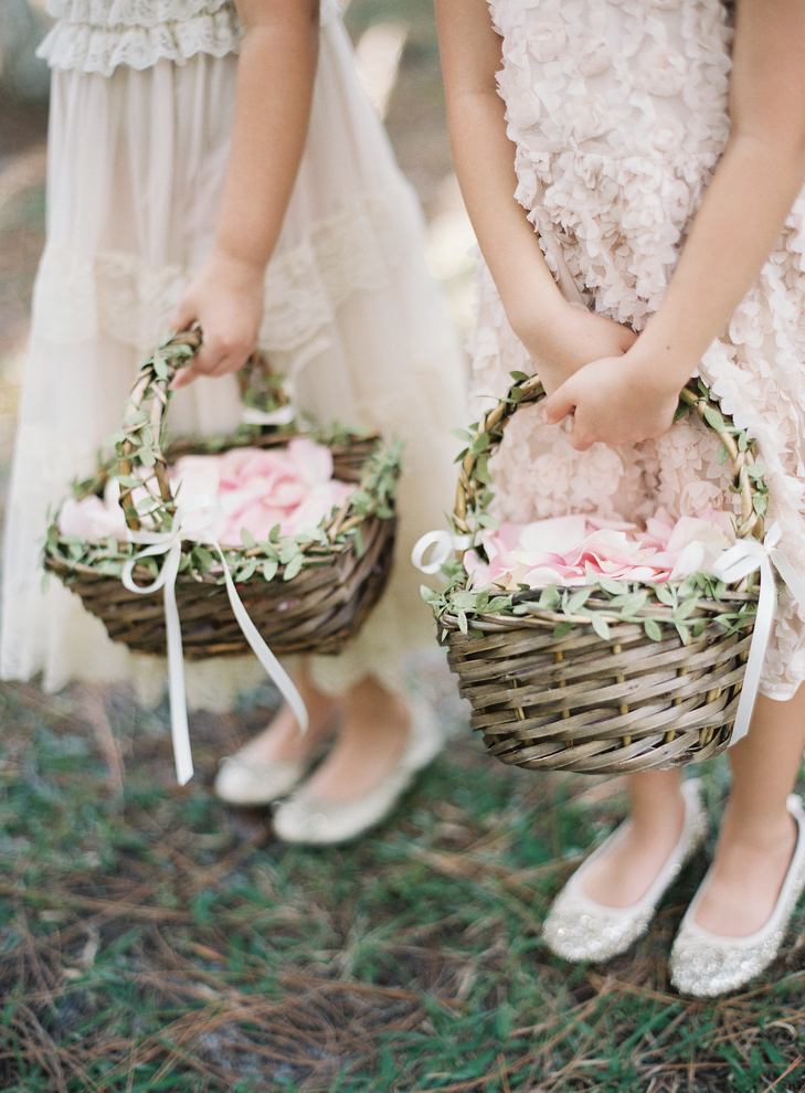 Greenery Accented Woven Flower Girl Baskets Flowers