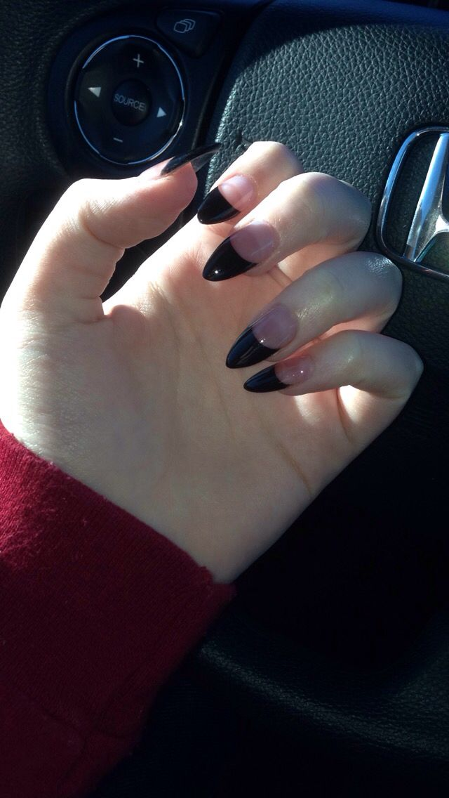 Stiletto Black Tip French Manicure Nails With Images French