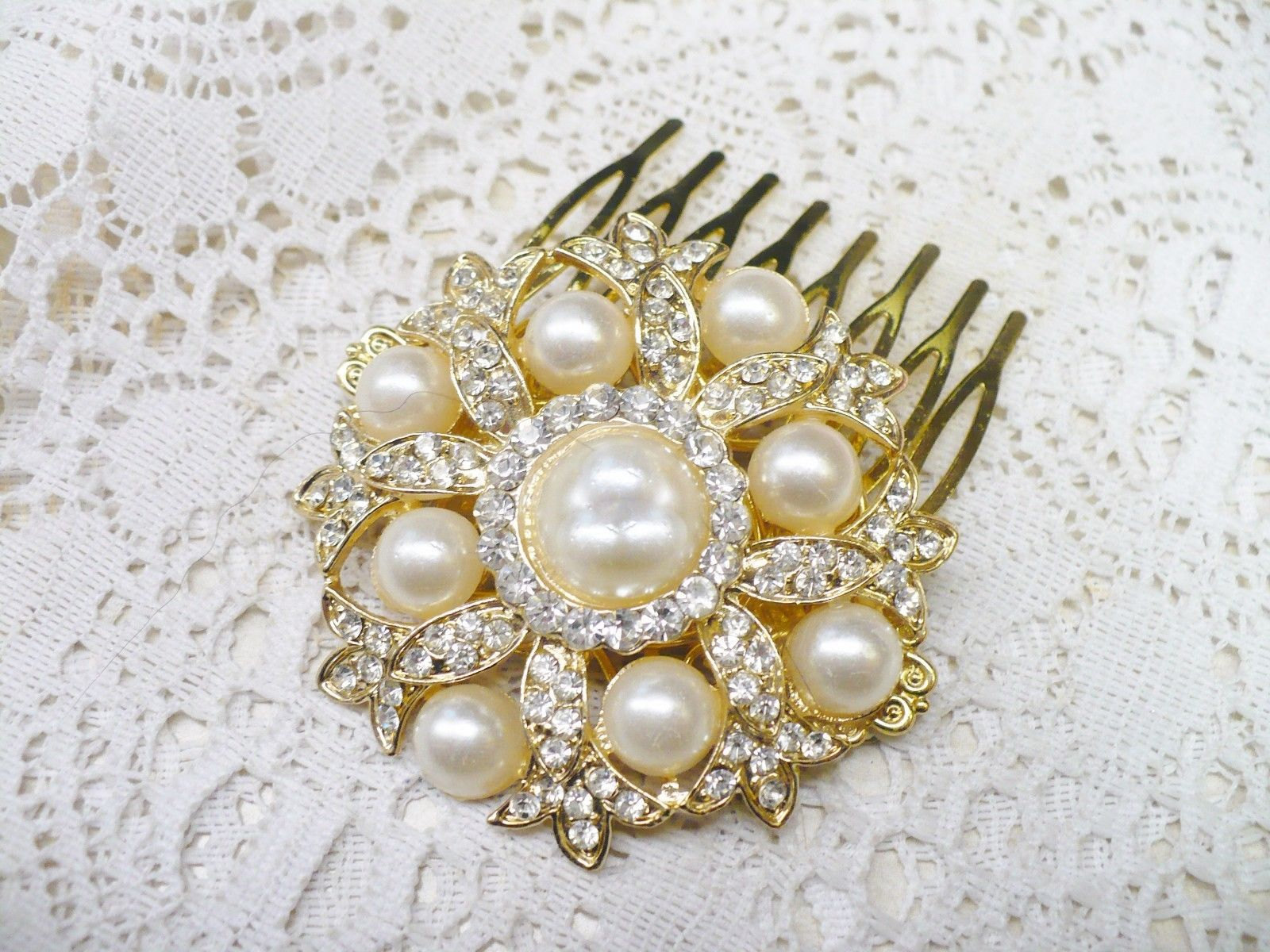 PEARL HAIR COMB GOLD TONE IVORY FAUX PEARLSRHINESTONES