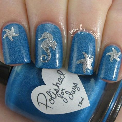 Blue and Silver Shimmer Ocean Nails With Seahorse and Starfish - Blue And Silver Shimmer Ocean Nails With Seahorse And Starfish