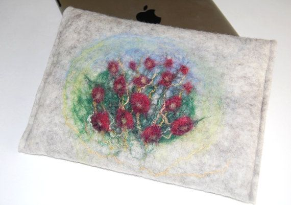Wool Felt iPad Mini Case With Red Roses  Wool Felt by ElisaShine