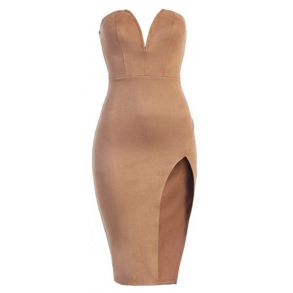 JLUXBASIX Taupe Sultry Slit Suede Dress