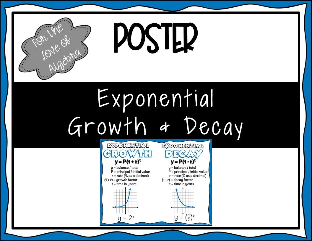 Exponential Growth Amp Decay Poster Gse Algebra 1