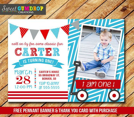 Red Wagon Invitation Style 2  Printable  FREE by SweetGumdrop