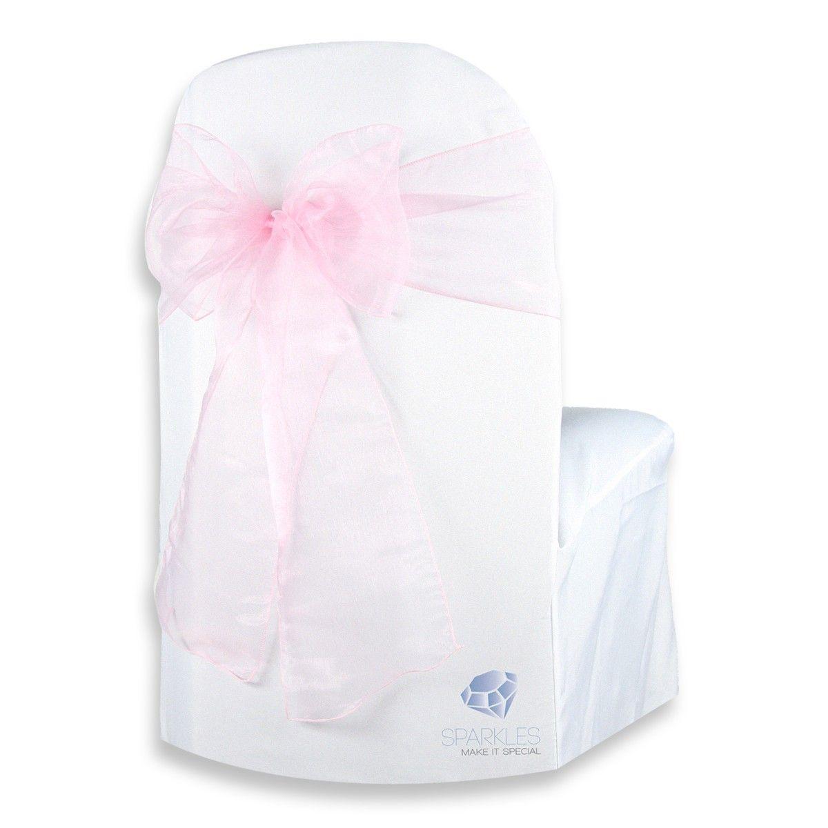 50 pc pink 108x8 organza chair cover bow sash chair
