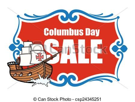 Vector Columbus Day Sale Banner Stock Illustration Royalty Free Illustrations Stock Clip Art Icon Stock Clipa Columbus Day Sale Sale Banner Columbus Day