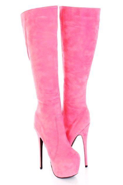 4374eed294c76 Thigh High Leather Boots for Women - Hot Pink Thigh High Leather Boots for  Women