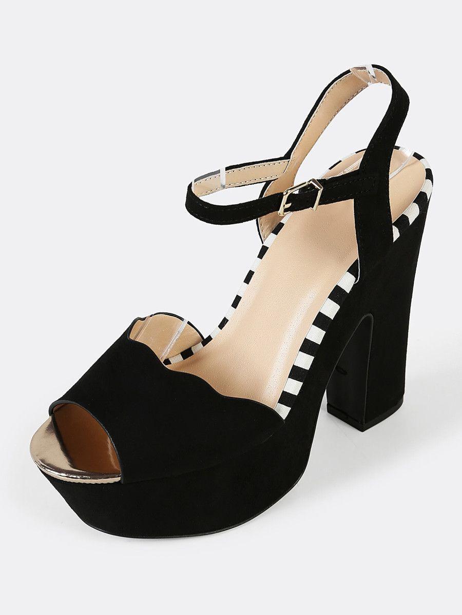 b98615661036 Shop Faux Suede Scalloped Trim Single Band Chunky Platform Heel with Stripe  Detail BLACK online.